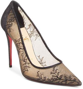 Christian Louboutin Floral Lace Pointy Toe Pump