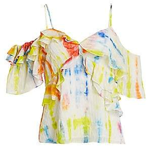 Tanya Taylor Women's Tavia Cold Shoulder Tie-Dye Top - Size 0