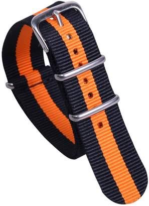 AUTULET Black/Orange Colorful NATO Style Sturdy Exotic Soft Nylon Sport Men's Wrist Watch Band Wristband