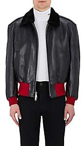 Calvin Klein Men's Shearling-Collar Leather Jacket-Black Size 46