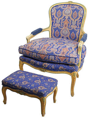 One Kings Lane Vintage W. & J. Sloane Fauteuil and Ottoman - Acquisitions Gallerie