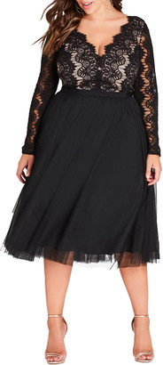 City Chic Rare Beauty Lace Fit & Flare Dress
