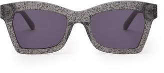 Karen Walker Blessed Galaxy Glitter Square Frame Sunglasses - Womens - Dark Grey