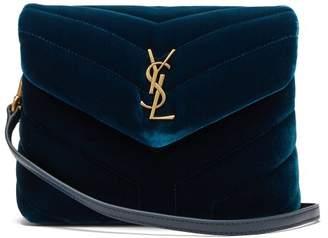 Saint Laurent Louou Velvet Mini Cross Body Bag - Womens - Dark Green