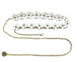 Neiman Marcus Floral Chain Belt, White $40 thestylecure.com