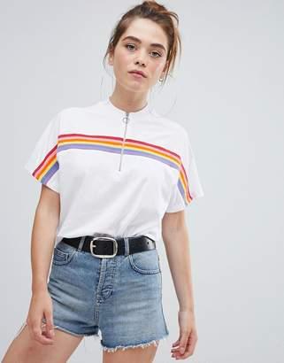 Bershka stripe zip up top