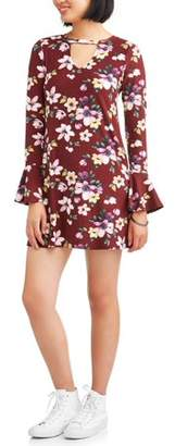 Eye Candy Juniors' Long Sleeve Dress with Flare Cuffs and Keyhole