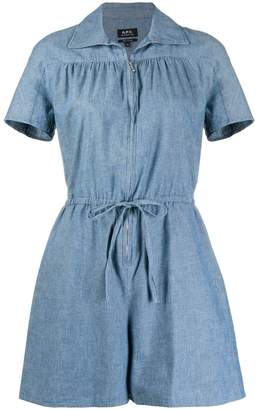 A.P.C. belted denim playsuit