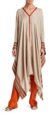 Loro Piana Women's Stripe Silk& Cashmere Poncho - Cream