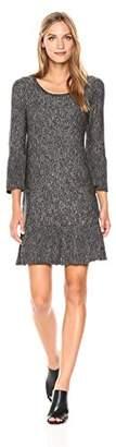 Max Studio Women's Marled Sweater Bell Sleeve Pleated Hem