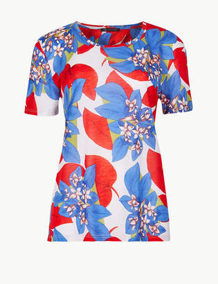 Marks and Spencer Bold Floral Print Relaxed Fit T-Shirt