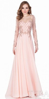 Terani Couture Long Sleeve Beaded Evening Gown $649 thestylecure.com