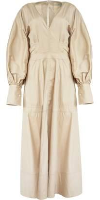 Lee Mathews Elsie V Neck Long Sleeve Dress