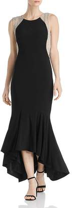 Avery G Fluted Caviar-Bead Gown