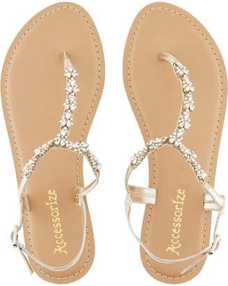 Accessorize Reno Embellished Sandal - Gold