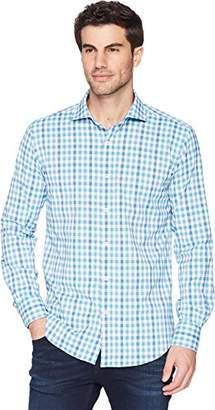 Bugatchi Men's Slim Fit Spread Collar Glen Plaid Cotton Shirt