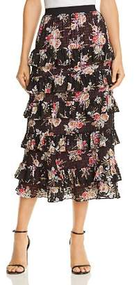 Rebecca Taylor Bouquet Floral Tiered-Ruffle Skirt