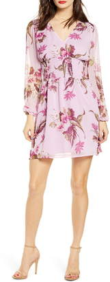 Leith Smocked Waist Floral Print Long Sleeve Minidress
