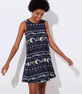 LOFT Petite Flower Stripe Sleeveless Swing Dress