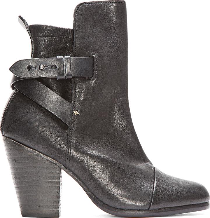 Rag and Bone Rag & Bone Black Leather Kinsey Ankle Boots