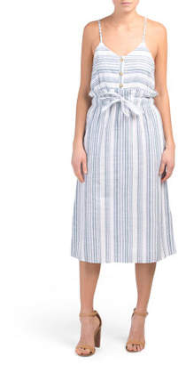 Juniors Striped Tie Waist Midi Dress