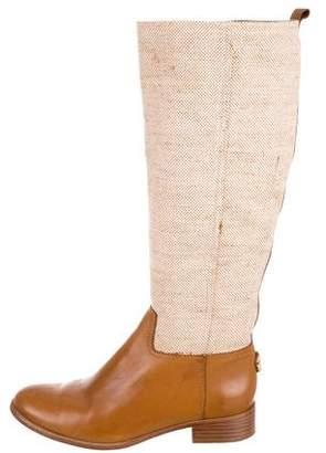 Tory Burch Leather-Trimmed Knee-High Boots