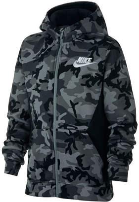 Nike Big Boys Printed Fleece Zip-Up Hoodie