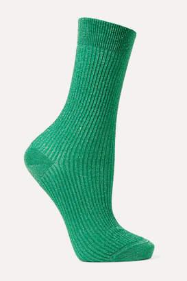 Maria La Rosa Metallic Ribbed-knit Socks - Green
