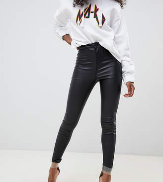 69a01b0322334 Noisy May Petite coated skinny jeans in black