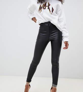 43cf5e12f31580 Noisy May Petite coated skinny jeans in black