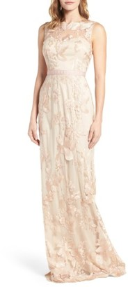Women's Adrianna Papell Sleeveless Embroidered Tulle Gown $298 thestylecure.com