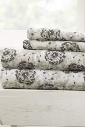 IENJOY HOME Home Spun Premium Ultra Soft Make a Wish Pattern 4-Piece Full Bed Sheet Set - Gray