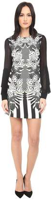 Just Cavalli Maya Print Sheath Dress w/ Chiffon Sleeves Women's Dress