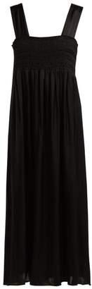 ALEXACHUNG Smocked Satin Dress - Womens - Black