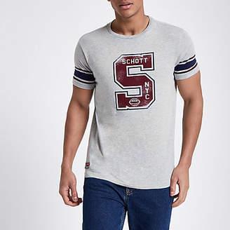Schott grey print baseball T-shirt