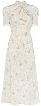 Miu Miu silk printed pussybow midi dress