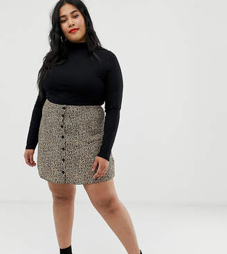 abecaf41c9 Asos DESIGN Curve button front mini skirt in leopard print