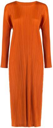 Pleats Please Issey Miyake Long Sleeve Midi Dress