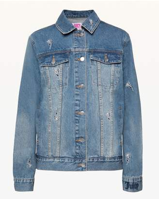 Juicy Couture JXJC Tossed Roses Embroidered Denim Jacket