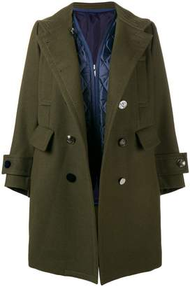 Sacai double-breasted fitted coat