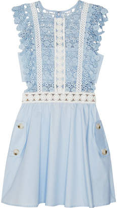 Self-Portrait - Guipure Lace And Poplin Mini Dress - Sky blue $285 thestylecure.com