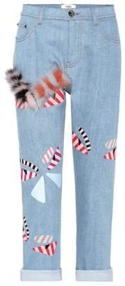 Fendi Embellished cropped jeans