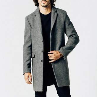 DSTLD Mens Long Wool Coat in Grey