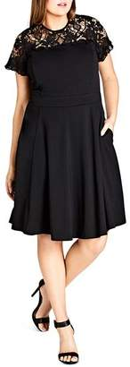 City Chic Plus Dark Mistress Lace Panel Dress