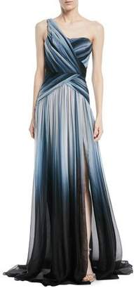 Pamella Roland One-Shoulder Ombre-Printed Chiffon Evening Gown