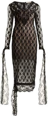 Christopher Kane - V Neck Lace Dress - Womens - Black