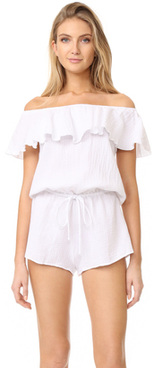 Eberjey Lucia Off Shoulder Sleep Romper $88 thestylecure.com