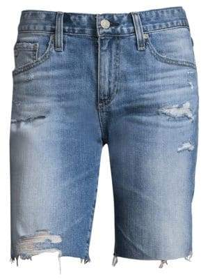 AG Jeans Women's The Nikki Slim-Fit Relax Skinny Raw Hem Medium Wash Denim Shorts - Blue - Size 32 (10-12)