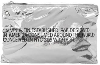 Calvin Klein Silver Small Metallic Pouch