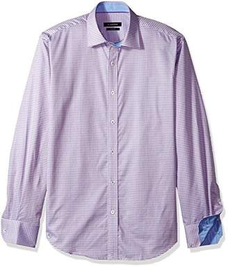 Bugatchi Men's European Cotton Trim Fit Point Collar Button Down Shirt